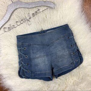 Free People Denim Shorts 25 Lace Up Sides
